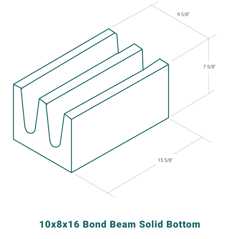 10 x 8 x 16 Bond Beam Solid Bottom