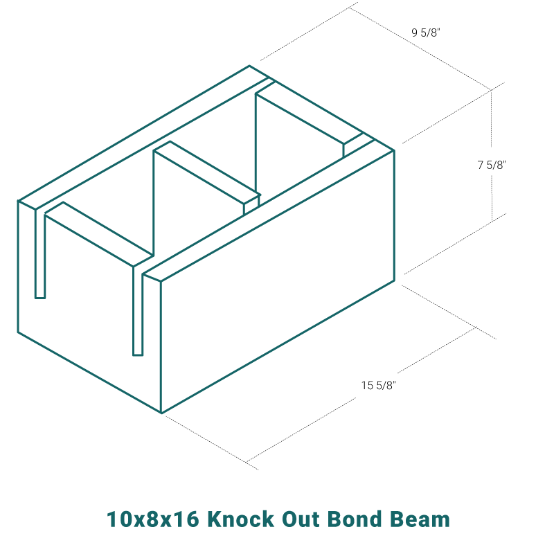 10 x 8 x 16 Knock Out Bond Beam