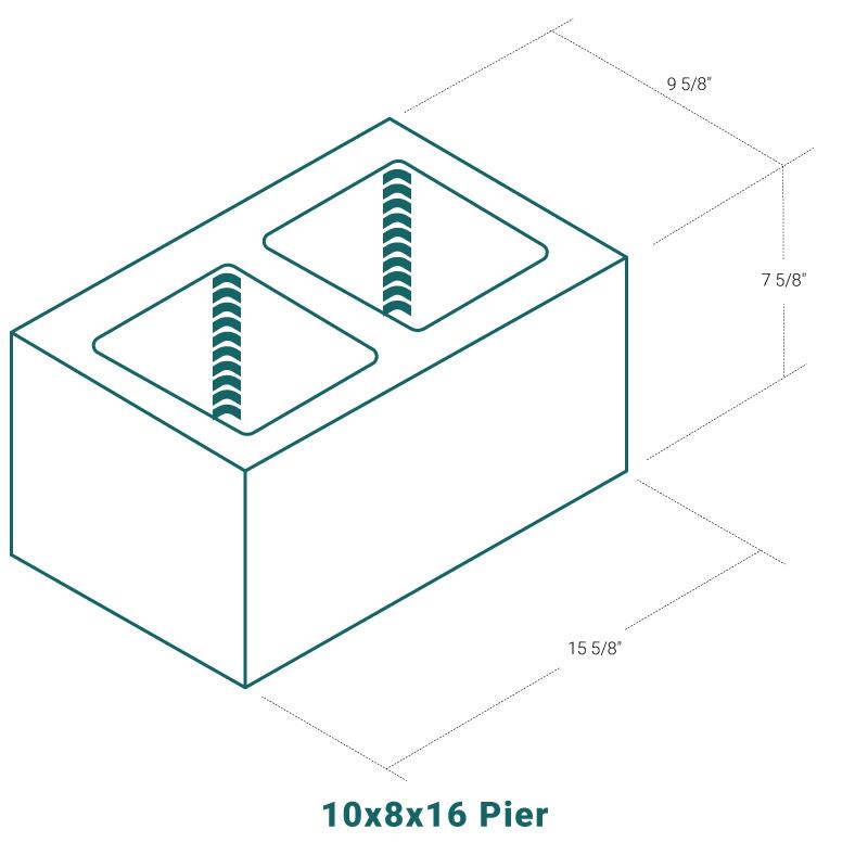 10 x 8 x 16 Pier
