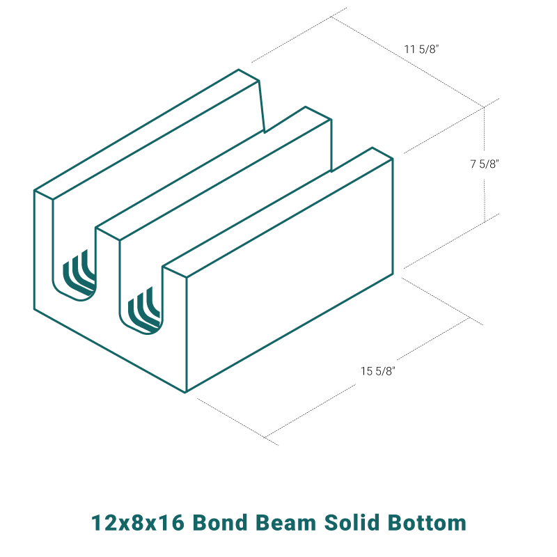 12 x 8 x 16 Bond Beam Solid Bottom