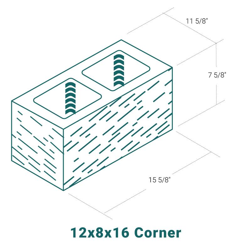 12 x 8 x 16 Corner