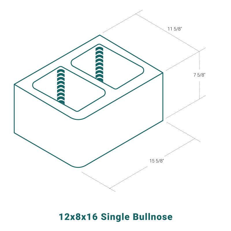 12 x 8 x 16 Single Bullnose