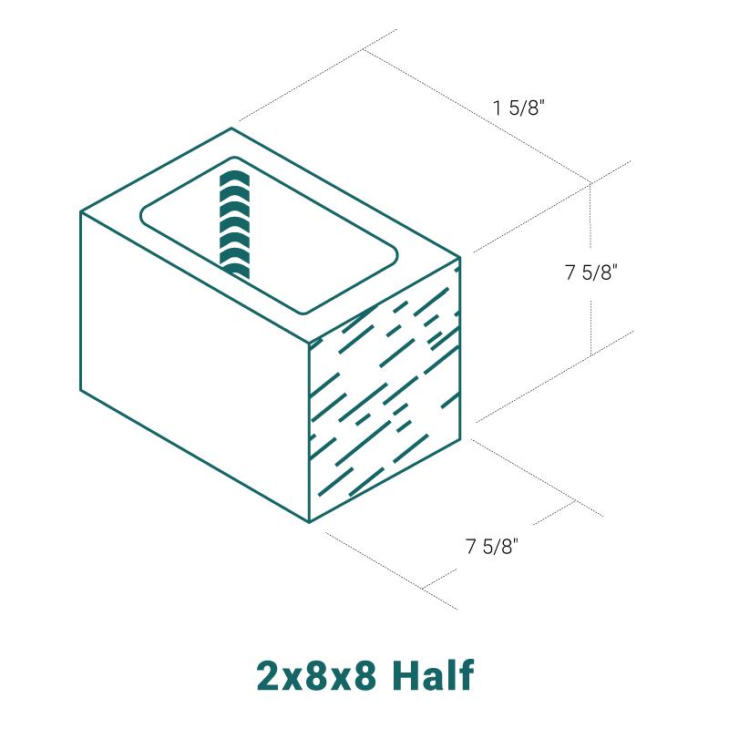 2 x 8 x 8 Half