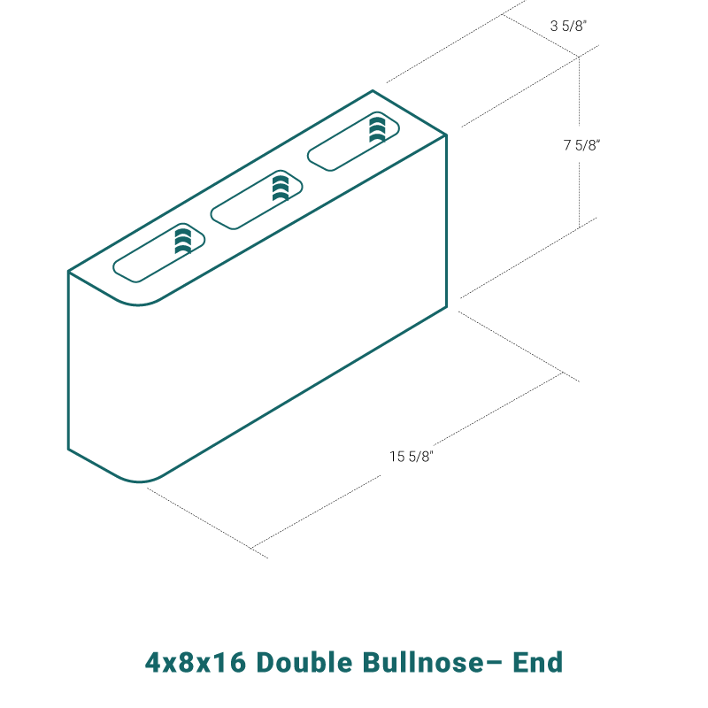 4 x 8 x 16 Double Bullnose - End