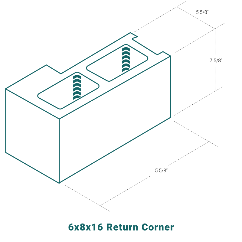6 x 8 x 16 Return Corner