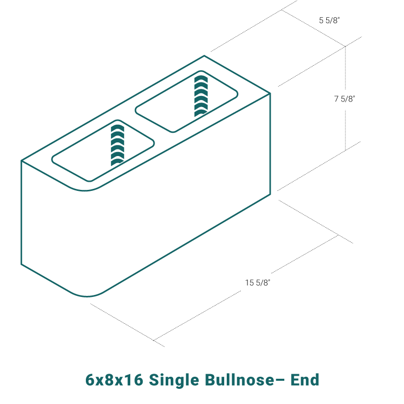 6 x 8 x 16 Single Bullnose - End