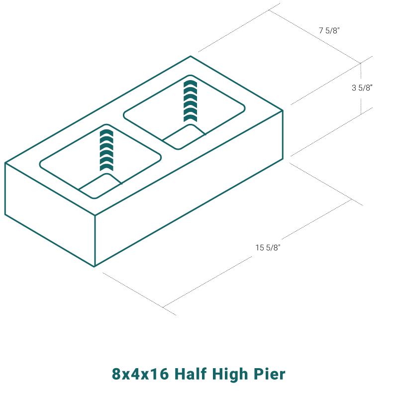 8 x 4 x 16 Half High Pier