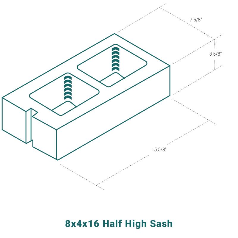 8 x 4 x 16 Half High Sash