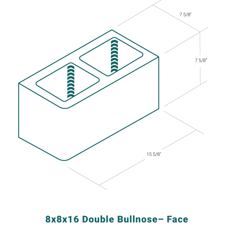 8 x 8 x 16 Double Bullnose - Face