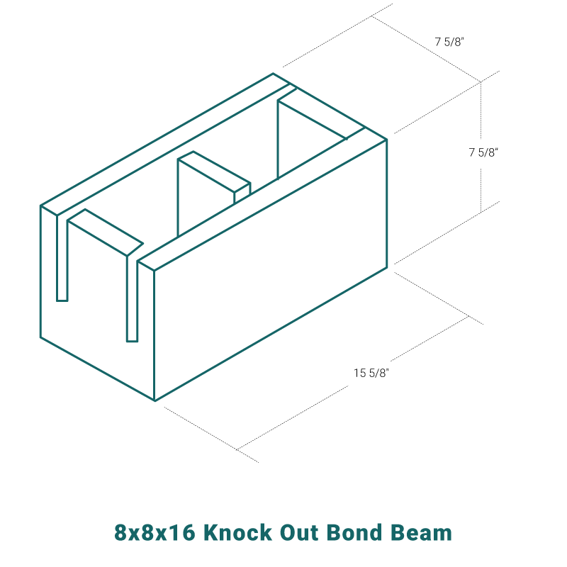 8 x 8 x 16 Knock Out Bond Beam