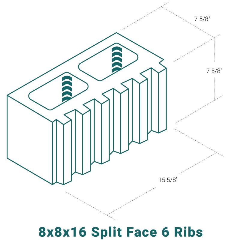 8 x 8 x 16 Split Face - 6 Ribs